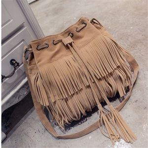 Tan and brown women's tassels decoration bag